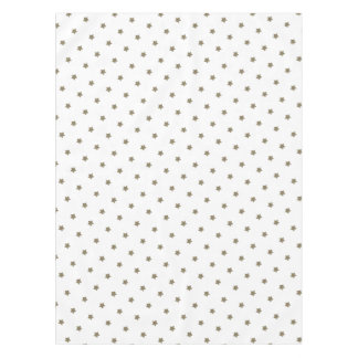 White and Gold Look Stars Pattern Festive Elegant Tablecloth