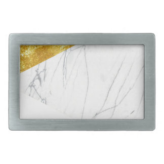 White and Gold Marble Rectangular Belt Buckles
