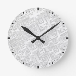 White and Gray Retro Square Pattern on Wall Clock