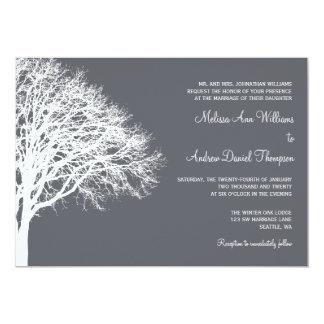 White and Gray Winter Oak Wedding 13 Cm X 18 Cm Invitation Card