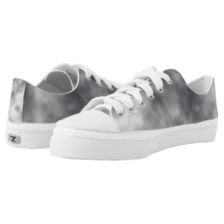 White and Grey Mist Pattern Printed Shoes