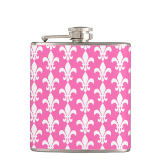 White and Hot Pink Fleur de Lis Pattern Hip Flask