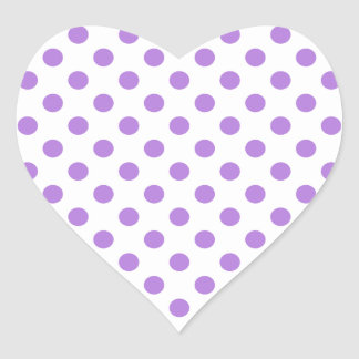 White and Lavender Polka Dots Heart Sticker