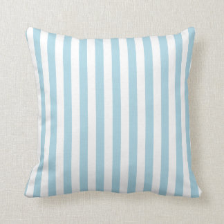 White and Light Blue Stripes Cushion
