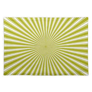 White and Lime Funky Striped Abstract Art Placemat