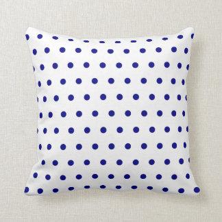 White and Navy Polka Dots Cushion