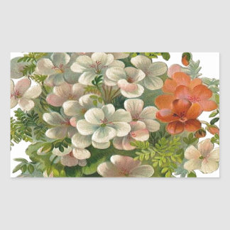 White and Orange Flowers Rectangle Sticker