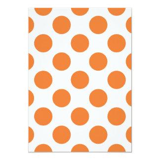 White and Orange Polka Dots 13 Cm X 18 Cm Invitation Card