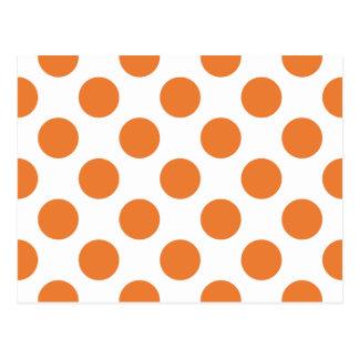 White and Orange Polka Dots Postcard