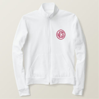 White and Pink Embroidered Monogram Jacket