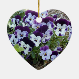 White And Purple Pansies, Christmas Ornament