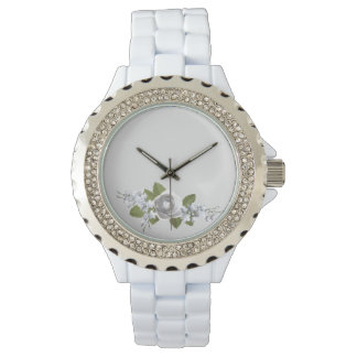 White and silver rose watch