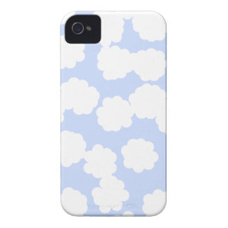 White and Sky Blue Clouds Pattern. iPhone 4 Cases
