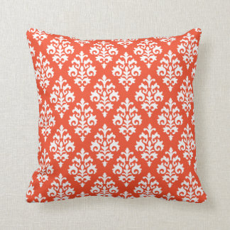 White and Tangerine Orange Damask Throw Pillow Throw Cushion