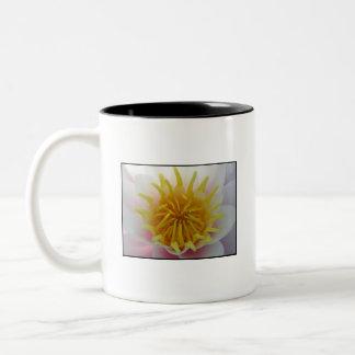 White and Yellow Flower. Two-Tone Coffee Mug