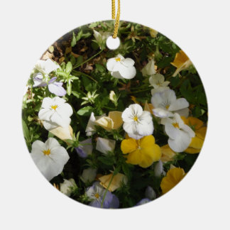 White And Yellow Pansies Christmas Ornament
