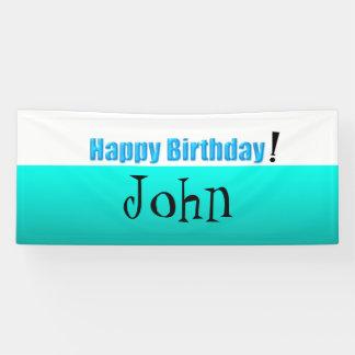 White Aqua gradiant Happy Birthday Banner