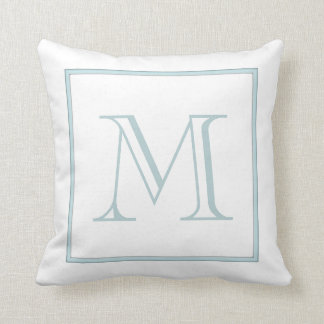 White Baby Blue Monogram Cushion