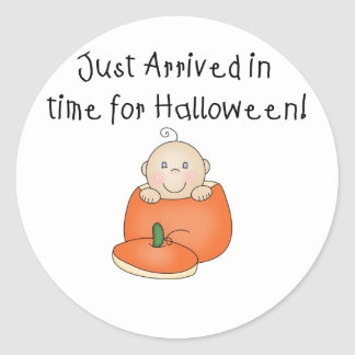 White Baby Halloween Just Arrived Round Sticker