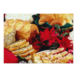 White Baked goods flowers 13 Cm X 18 Cm Invitation Card