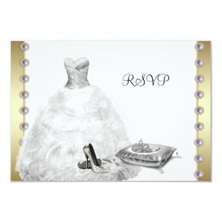 White Ball Gown High Heel Shoes White Quinceanera 9 Cm X 13 Cm Invitation Card