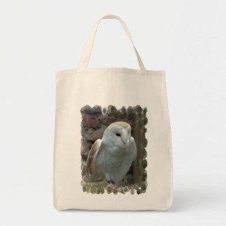 White Barn Owl  Grocery Tote Bag