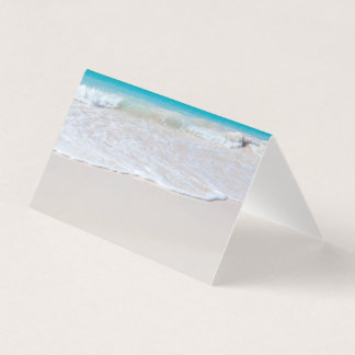 White Beach Wedding Folded Place Card