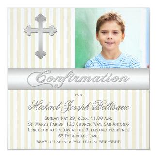 White Beige Stripes Confirmation Photo Invitation