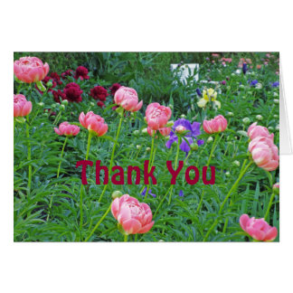 """WHITE BENCH IN PEONY GARDEN/""""THANK YOU"""" CARD"""