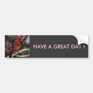 White Berries Primitive Christmas Red Cardinal Bumper Sticker