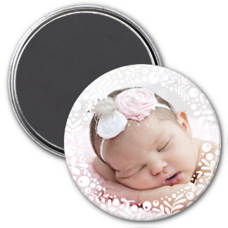White Berry Framed Baby Photo 7.5 Cm Round Magnet