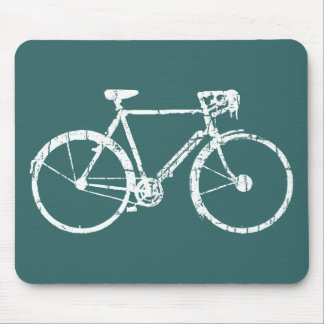 white bicycle mouse pad