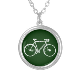 white bicycle silver plated necklace