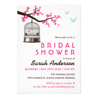White Bird Cage Floral Bridal Shower Invitation