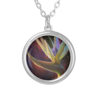 White Bird Of Paradise Hawaiian Tropical Flower Silver Plated Necklace