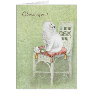 white birthday cat and roses on pillow card