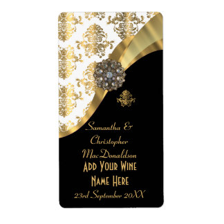 White, black and gold damask wedding wine bottle shipping label