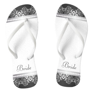 White, Black and Silver Lace   Wedding Party Jandals
