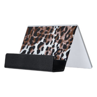 White Black Brown Cheetah Abstract Desk Business Card Holder