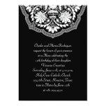 White & Black Latin Pattern Quinceanera Invitation