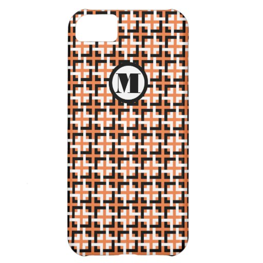 White-Black Squares and Orange Barely There Case Case For iPhone 5C