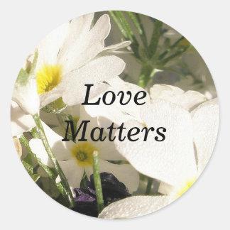 White Blooms Round Sticker