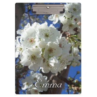 White Blossoms I Spring Floral Clipboards