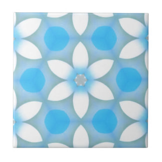 White Blue Daisies in Hexagons Tile