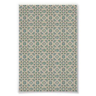 White Blue Geometric Pattern BAckground Poster