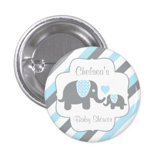 White, Blue & Gray Stripe Elephants Baby Shower 3 Cm Round Badge