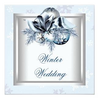 White Blue Snowflake Blue Winter Wedding 13 Cm X 13 Cm Square Invitation Card