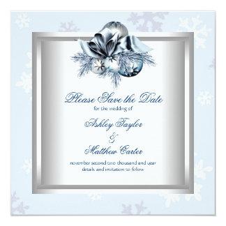 White Blue Snowflake Winter Wedding Save the Date 13 Cm X 13 Cm Square Invitation Card