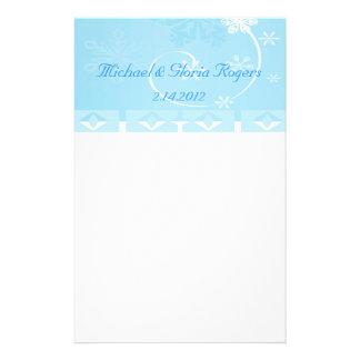 White & Blue Snowflake Wonderland Stationery