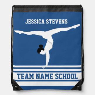 White & Blue Stripes Gymnastics Team Drawstring Bag